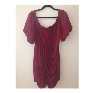 Ruched off the shoulder urban outfitters dress
